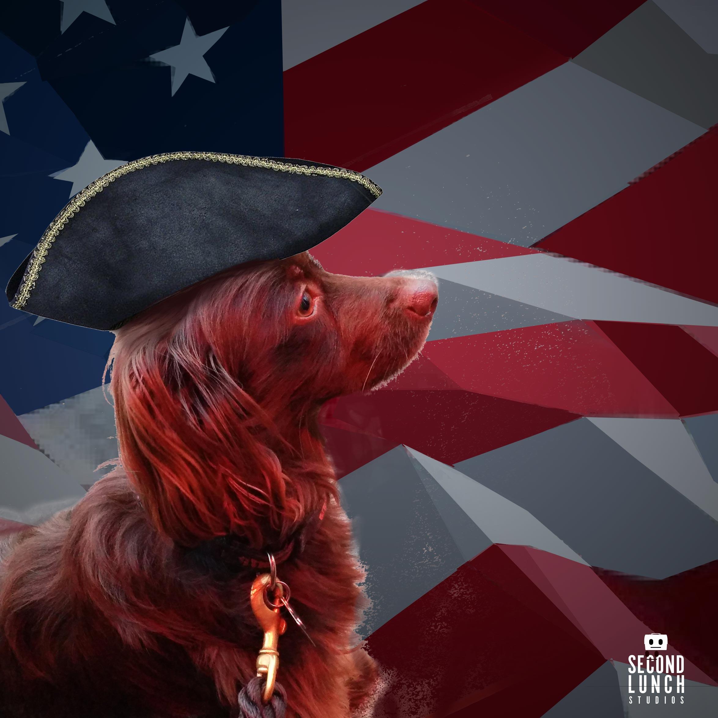 Patriotic Dog, Leonard.